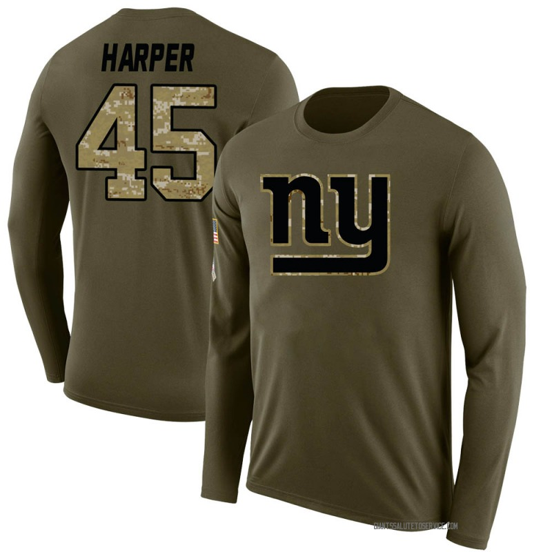Youth Madre Harper New York Giants Legend Olive Salute to Service Sideline Long Sleeve T-Shirt